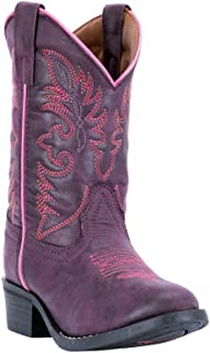 Western Boots Girls Faux Leather Pull Strap Round Purple LC2457
