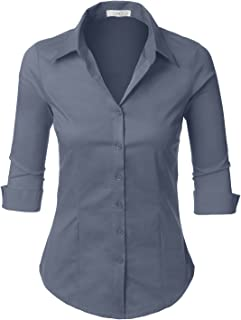 c82e55fb LE3NO Womens Roll Up 3/4 Sleeve Button Down Shirt with Stretch