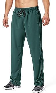 FASKUNOIE Men's Sweatpant with Zipper Pockets Open Bottom Breathable Mesh Athletic Jogger Pants