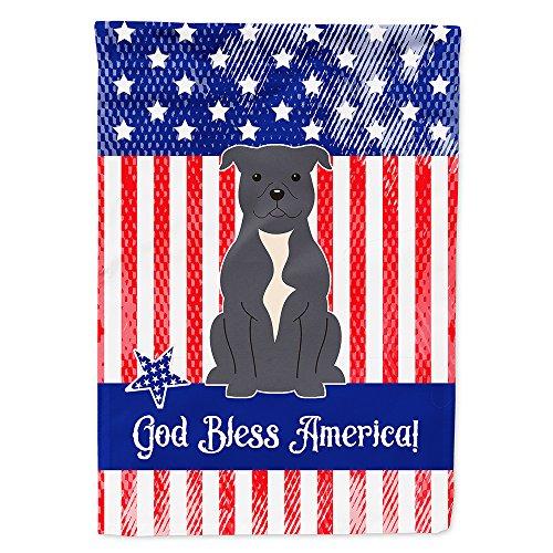 Patriótico EE. UU. Staffordshire Bull Terrier azul bandera lona casa tamaño bb3041chf