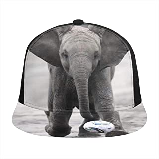TYHG Sombrero de béisbol unisex de ala plana, diseño de elefantes, jugando al fútbol, hip hop, color negro