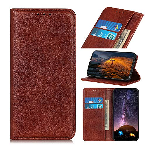 Snow Color Leather Wallet Case for Galaxy A71 with Stand Feature Shockproof Flip, Card Holder Case Cover for Samsung Galaxy A71 - COKZN020063 Brown