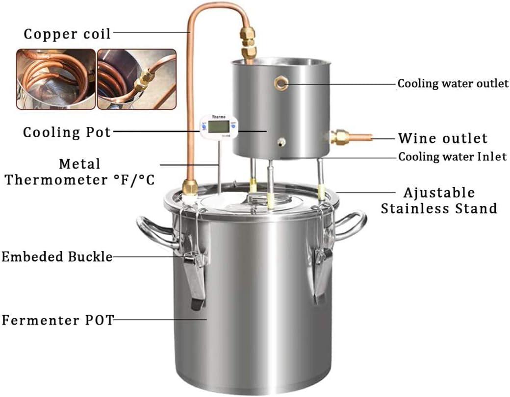LTLWSH Copper Alcohol Wine Moonshine Still Spirits Boiler Water Oil Brewing Whisky Distiller Kit for Whisky Brandy Vodka Stainless Steel,12L