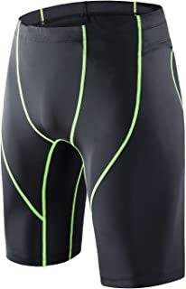 BEROY Mens Compression Shorts Training Workout Tight Sports Base Layer with One Pocket(GreenLine,S)