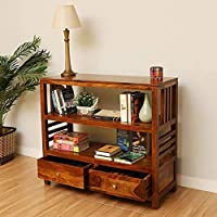 DOKRI Solid Sheesham Wood Entrance Console Table with 2 Drawer and 2 Shelf Storage for Living Room Kitchen Home Office...