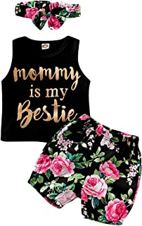 Hibobi Baby Girls Floral Outfit Set Wild One 3Pcs Black Vest Skirt with Headband