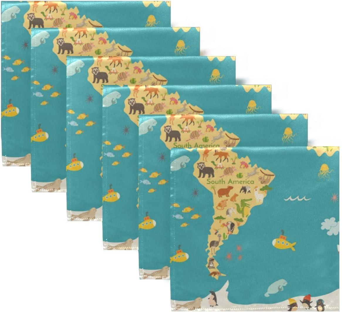 XiangHeFu Abendessen 20 x 20 Zoll Tabelle Wiederverwendbare waschbare Stoffservietten leicht zu reinigen Tier Karte f/ür Kid Hochzeit