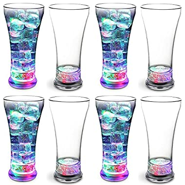 KOVOT Set of 8 LED Party Tumblers 14 Ounce: 3 Light Up Modes: Slow Blink, Running Flash, All On | UPDATED With Additional Replacement Batteries