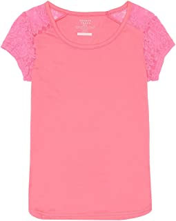 French Toast Girls' Short Sleeve Lace Shoulder Tee