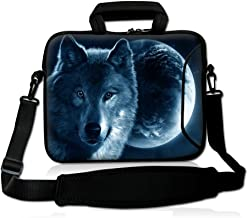 Ice Fire Wolf Waterproof Briefcase Sleeve Laptop Carrying Case Handbag with Strap Compatible 13 14 15.6
