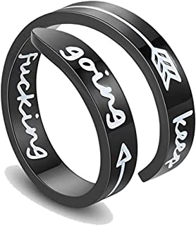 Carreton Adjustable Inspirational Silver Keep Going Ring Stainless Steel Ring Adjustable Bands Cool Stacking Inspired Jewelry