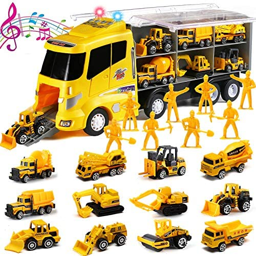 20 in 1 Die cast Construction Truck with Realistic engine sounds and flashing headlights Toy product image
