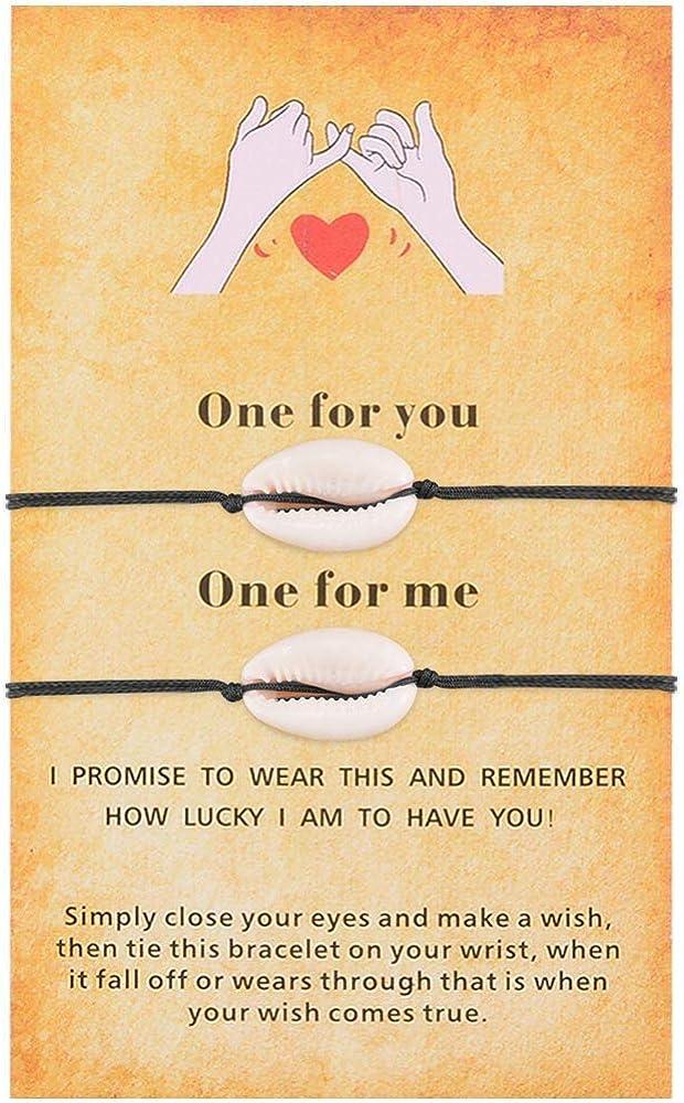 SUNSH safety 2Pcs Cowrie Dealing full price reduction Shell Wish Bracelets Girls Teen Women for Pink