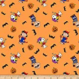 Springs Textiles Peanuts Halloween Orange Fabric Stoff,