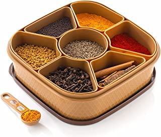 OMORTEX 7 IN 1 Elegant Masala Box and Spice Containers Set 1 Piece Spice Set (Plastic)