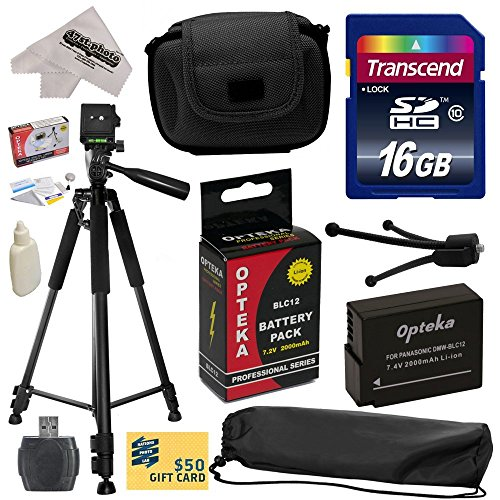 """Best Value Accessory Kit for Panasonic Lumix DMC-FZ200 Digital Camera Includes 16GB High-Speed SDHC Card + Card Reader + Opteka DMW-BLC12 2000mAh Ultra High Capacity Li-Ion Battery + Deluxe Padded Carrying Case + Professional 60"""" Tripod + Lens Cleaning Kit including LCD Screen Protectors Photo Print"""