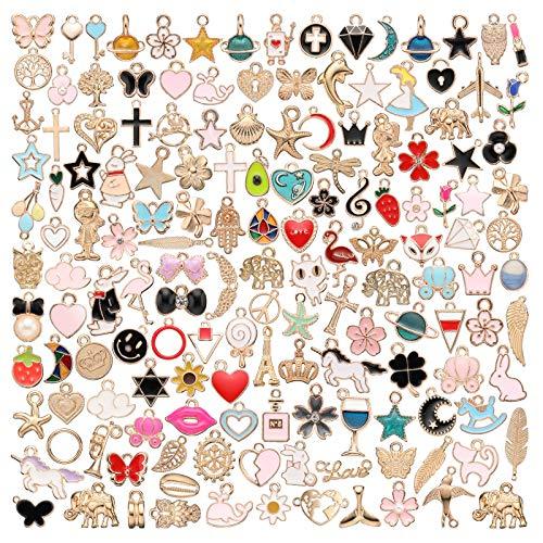 150 Stücke Sortierte Emaille Charm Anhänger Tier Stern Frucht Mond Anhänger Halskette Armband Charms für DIY Schmuck Basteln Herstellung (Klassischer Stil)