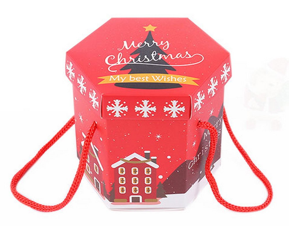 Koala Superstore Pack de 10 Cajas de Regalo Rojas de Navidad Hexagon Christmas Eve, árbol de Navidad: Amazon.es: Hogar