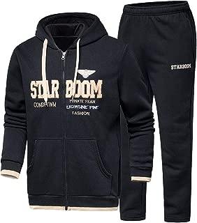 Mens Hoodie Winter Warm Fleece Zipper Sweater Jacket Outwear Coat Top Pants Sets