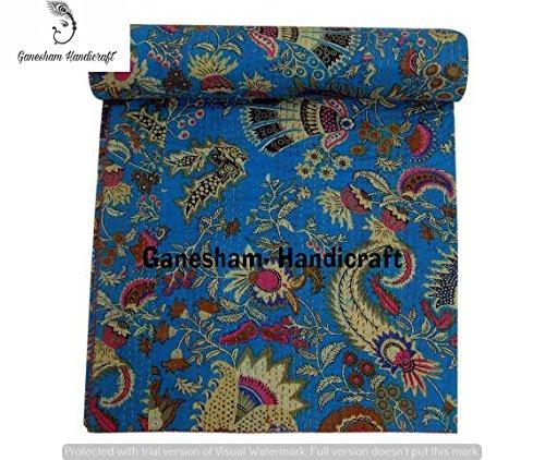 Couverture indienne hippie pour décoration de chambre - Couvre-lit brodé à la main - Literie bohémienne - Couvre-lit indien - Coton Kantha - Couvre-lit vintage Kantha