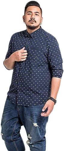 CHENGXINGF Grande Taille vêteHommests pour Hommes Nouvelle Chemise à Manches Longues en Coton Chemise lache Bleu