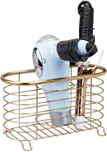 mDesign Metal Wire Hair Care & Styling Tool Organizer Holder Basket - Bathroom Vanity Countertop Storage Container for Hair Dryer, Flat Irons, Curling Wands, Hair Straighteners - Soft Brass