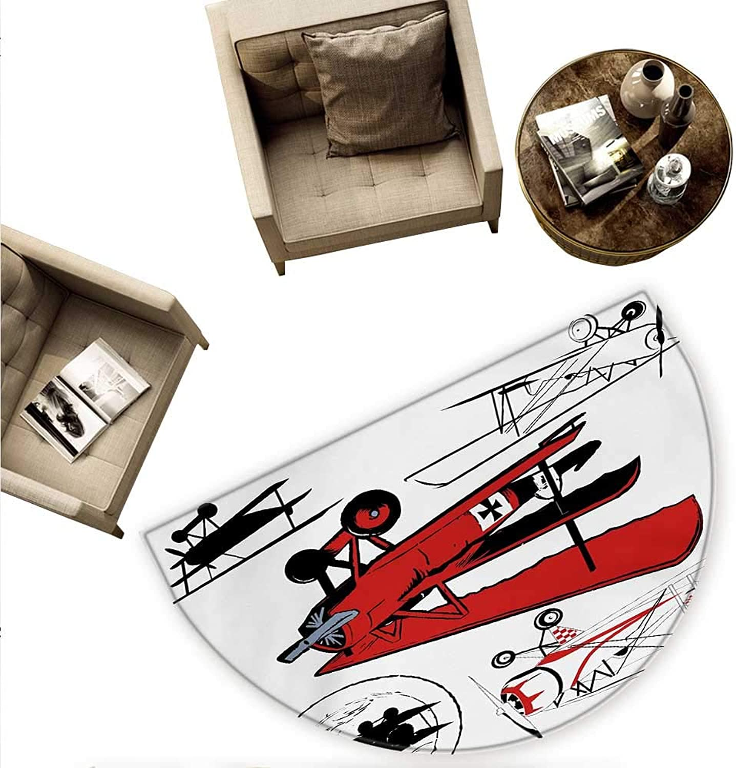Vintage Airplane Semicircular Cushion Collection of Various Biplanes Nostalgic Antique Silhouettes Print Entry Door Mat H 55.1  xD 82.6  Red White Black