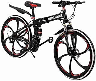Outroad Mountain Bike JKioleg's 21 Speed 26 in Folding Bike Double Disc Brake Bicycles Full Suspension MTB Bikes Double Suspension for Intermediate to Advanced Riders (26 Inch Wheels, Red)
