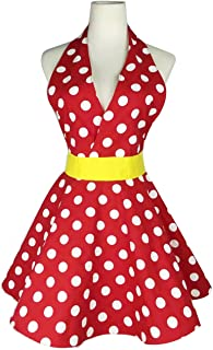 Lovely Sweetheart Retro Apron for Women Red Super Cute Funny Cotton V-Neck Polka Dot Classic Marilyn Monroe Big Wave Apron