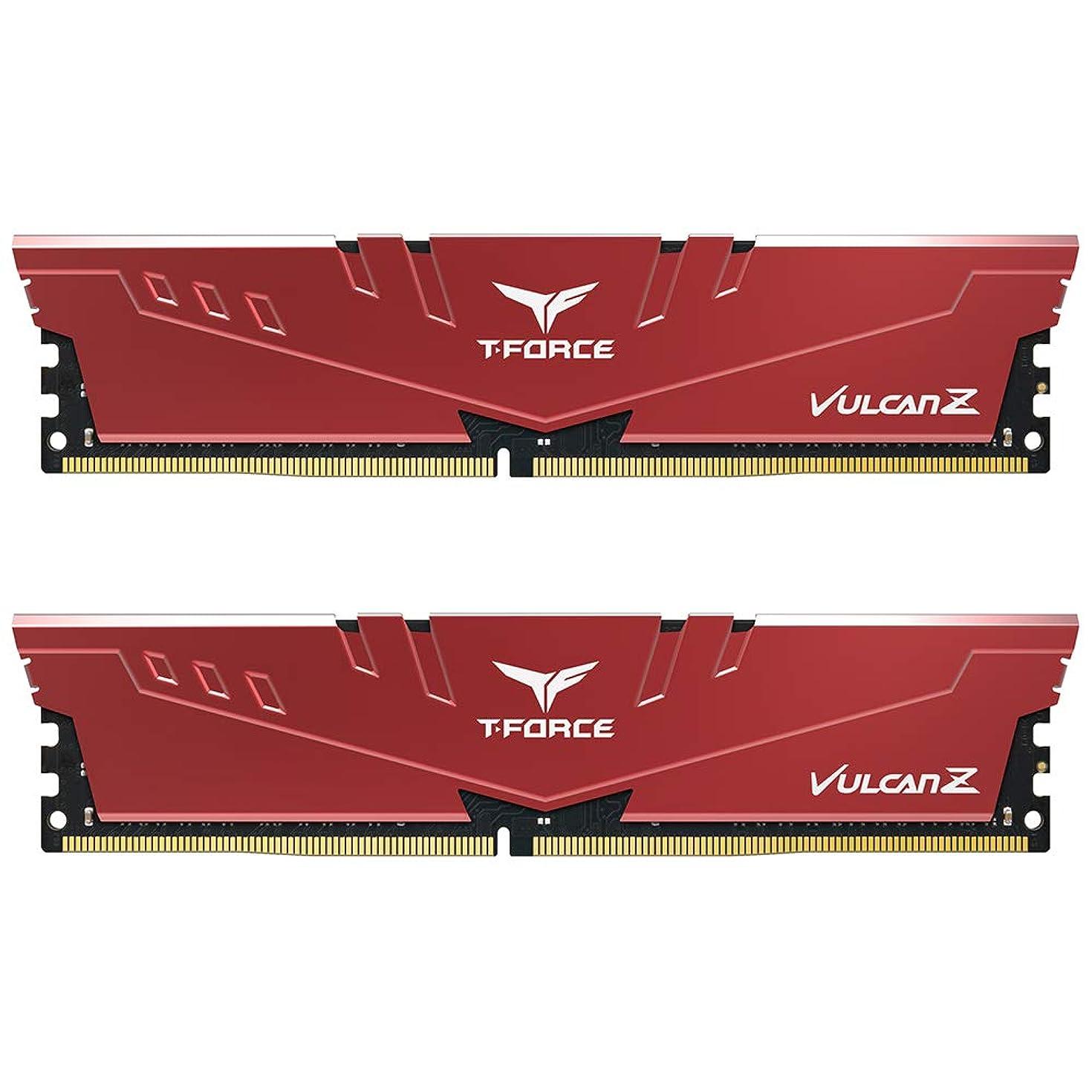 TEAMGROUP T-Force VulcanZ DDR4 16GB Kit (2 x 8GB) 3000MHz (PC4 24000) CL16 Desktop Memory Module Ram - Red - TLZRD416G3000HC16CDC01