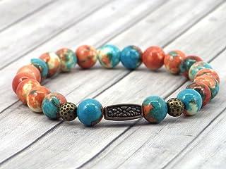 Bracciale da donna tibetano vintage in perle di giada marrone, arancio e blu con perline di bronzo antico