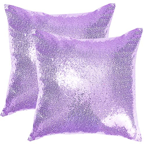 Poise3EHome 18x18inches Sequin Throw Pillow Covers Decorative Pillow Covers for Couch, Bed, Living Room, Christmas (Lavender, 2PCS)