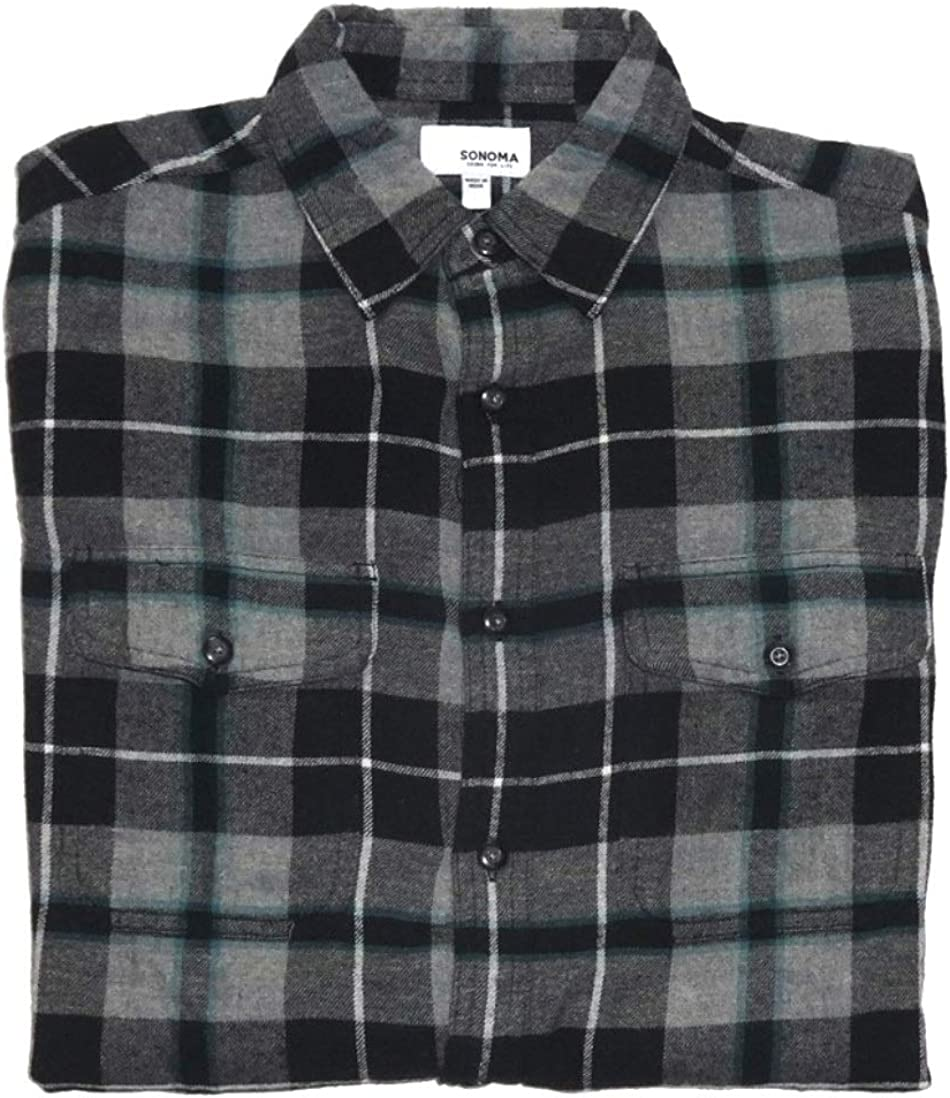 Sonoma Mens Classic Fit Flannel Long Sleeves Shirt Black Gray- 2 Chest Pockets