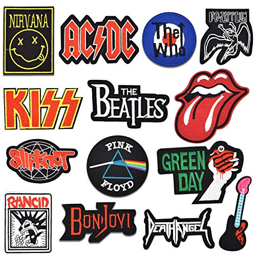 Riao-Tech 15pcs Rock Punk Band Patch Set Iron on Sew on Patches, Nirvana, Beatles, KISS, AC/DC, Green Day, Led Zeppelin