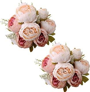 Fule 2 Pack Large Artificial Peony Silk Flower Bouquets Arrangement Wedding Centerpieces (Light Pink)