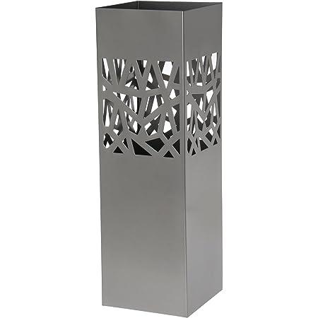 DONREGALOWEB Paraguero Cuadrado de Metal con Forma Cubos con recogeaguas 15.5x15.5x49 cm Plateado