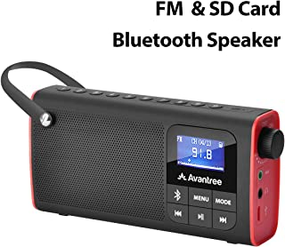 Avantree Portable FM Radio with Bluetooth Speaker and SD Card Player 3-In-1, MP3 Player..