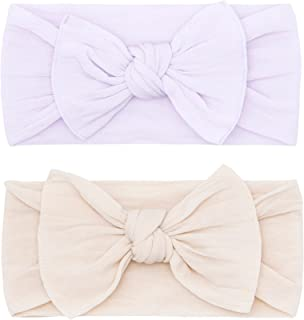 Baby Bling Bows Newborn to Little Girls Hair Bow - Classic Knot Headbands Toddlers Hair Accessories, One Size (2 Pack)