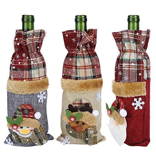 KUIDAMOS Decoraciones para Botellas De Vino, Bolsas para Botellas De Vino Práctica Bolsa para Regalo De Vino, Patrón De Cuadrícula De 3 Piezas, Reutilizable para Decoraciones De Mesa Navideñas