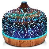 EOADUH 500ml Diffusore di Aromi per Oli Essenziali, Umidificatore di Aromaterapia Vetro 3D, Luce Effetto Fuochi d'artificio a 7 Colori, modalità Nebbia Regolabile, Silenzioso, Spegnimento Senza Acqua