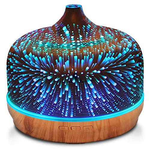EOADUH 500ml Aroma Diffuser für Ätherische Öle, 3D Glas Aromatherapie Diffusor Luftbefeuchter, 7 Farbwechsel Feuerwerk-Effekt Duftlampe Leise, Waterless Auto-Off, Holzmaserung