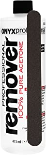 Onyx Professional 100% Acetone Nail Polish Remover with Nail File Removes Artificial Nails, Nail Polish, Gel Polish and Glitter Polish, 16 Fl Oz (Pack of 1)