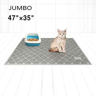 Niubya Premium Cat Litter Mat, XL Jumbo Size 47x35 Inches, Non-Slip and Water Proof Backing, Traps Litter from Box and Cat, Soft on Kitty Paws, Gray