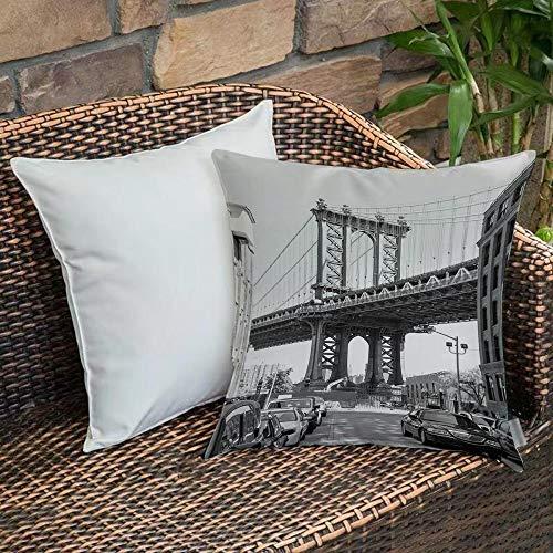 Poliestere morbidoFodera per Cuscino,Paesaggio, Brooklyn New York, Stati Uniti d'America Landmark Bridge Street con foto d,Fodere per Cuscini per Divano Divano Letto Decorativo per la casa, 45 x 45 cm