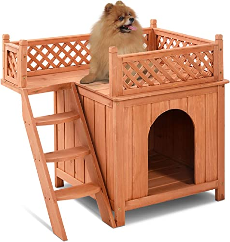 high quality Giantex Pet Dog House, discount Wooden Dog Room Shelter with Stairs, Raised Roof and Balcony Bed for Indoor and Outdoor wholesale Use, Wood Dog House online