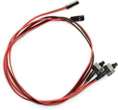 RuiLing 2-Pack 2 Pin PC Power Switch Cable Button ATX Desktop Computer Case Motherboard On/Off Reset Switch Line Re-starting Power SW Cable 50cm