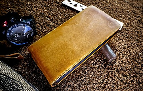 Urcover Akira Hand Made [Echt Leder] Handyhülle kompatibel mit LG G4S G4 s Wallet Cover Handgemacht Case Schutzhülle Etui Flip Wallet Pen Hell Braun