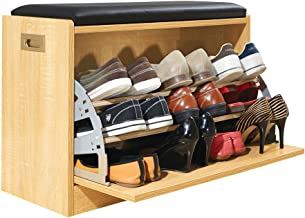 Collections Etc Wooden Shoe Cabinet Storage Bench w/Seat Cushion - Holds up to 12 Pairs, Natural