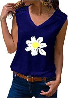 Women Sleeveless Tank Tops, Ladies V-neck Floral Printed Casual T-shirt Blouse Vest Top
