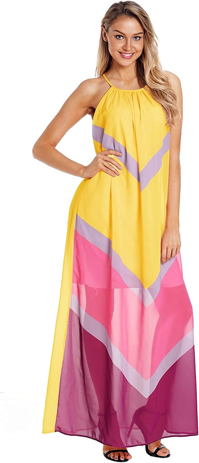BaronHong Chevron color Block Halter Neck Maxi Dress